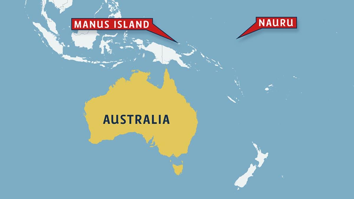 Kartta, jossa näkyvät Naurun ja Manus Island:in sijainnit suhteessa Australiaan.