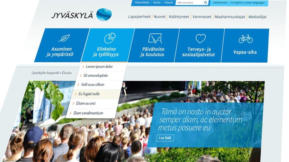 Jyväskylän uuden verkkoetusivun layout.