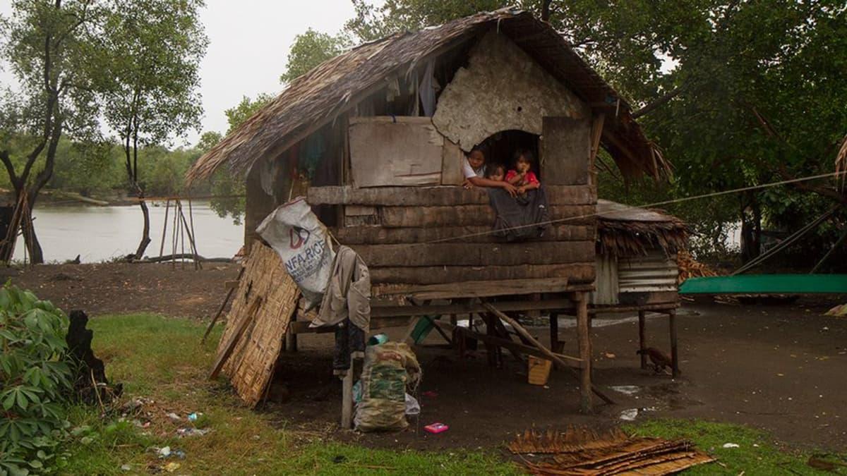 Puusta ja jätteistä kyhätty maja.