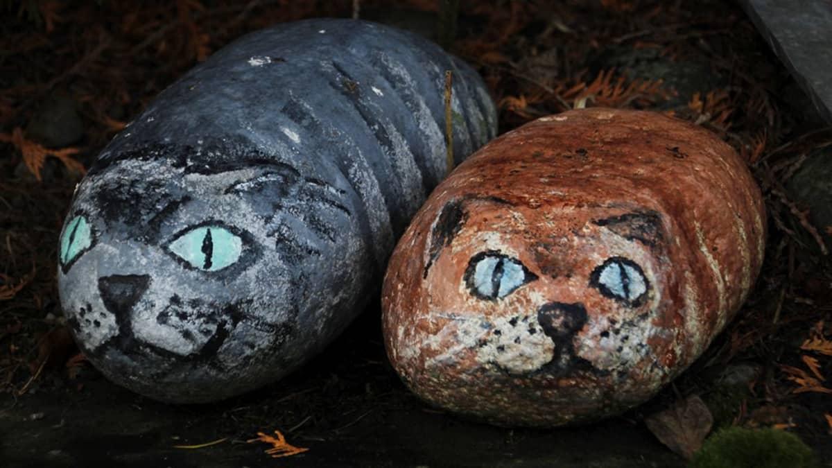 Kissahahmot maalattuina kiviin.