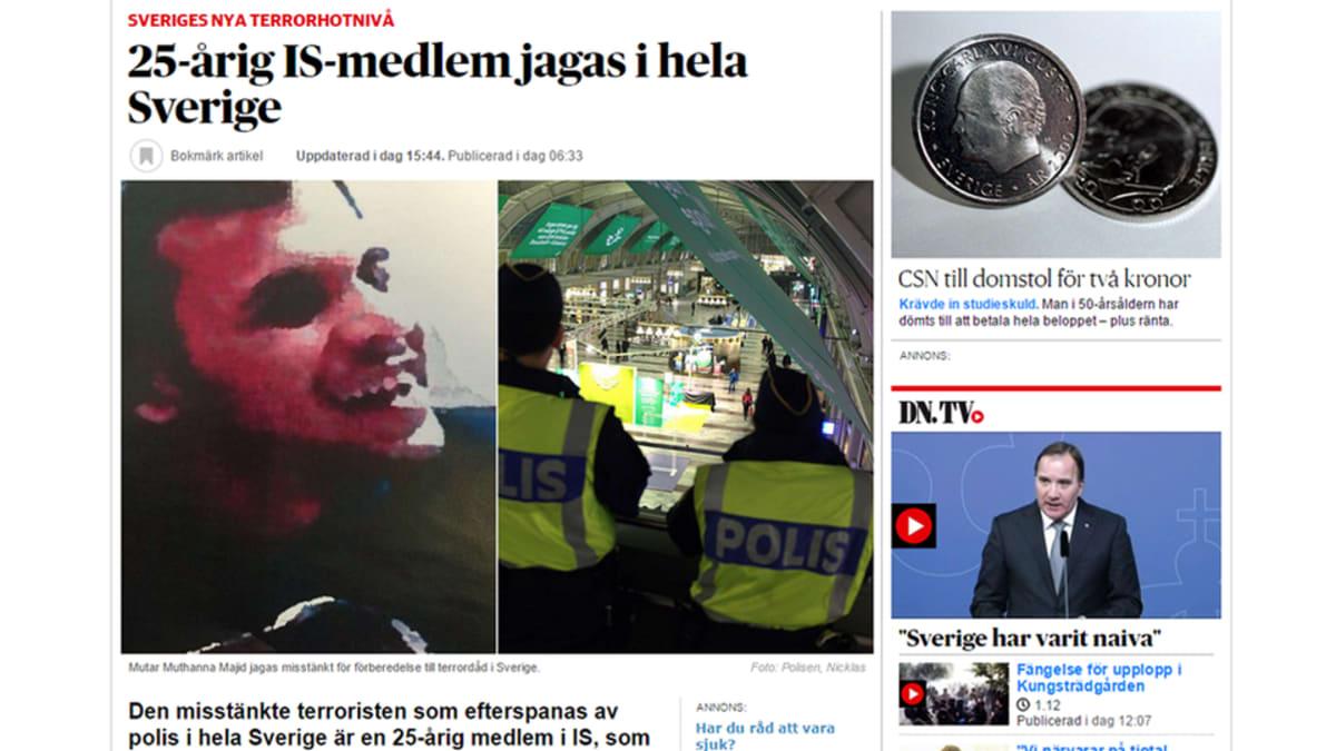Kuvakaappaus Dagens Nyheterin terroristijahti-jutusta