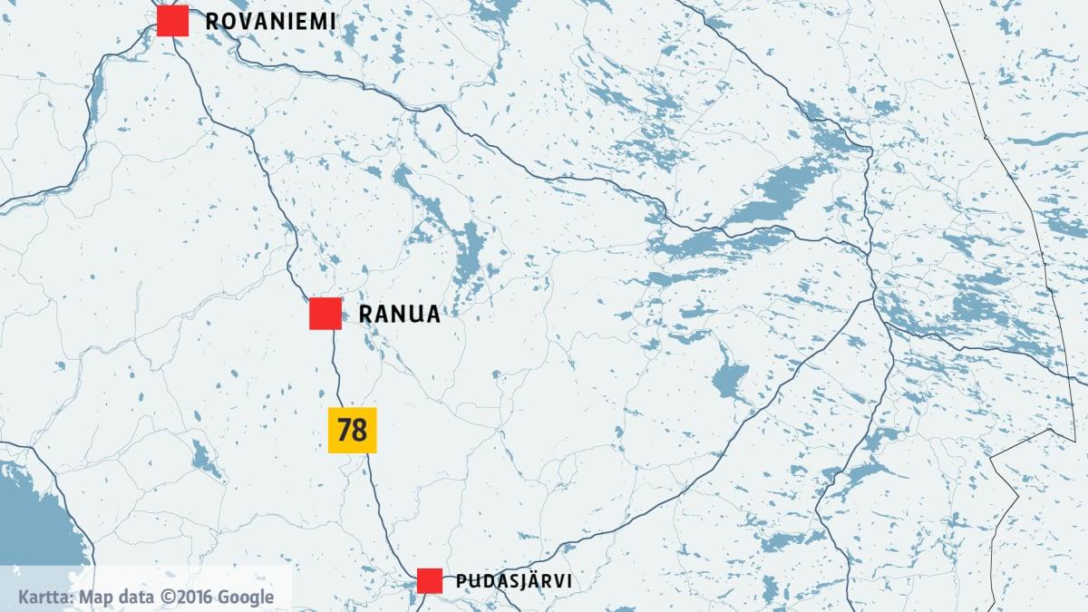 Kartta, jossa Rovaniemi, Ranua ja Pudasjärvi.