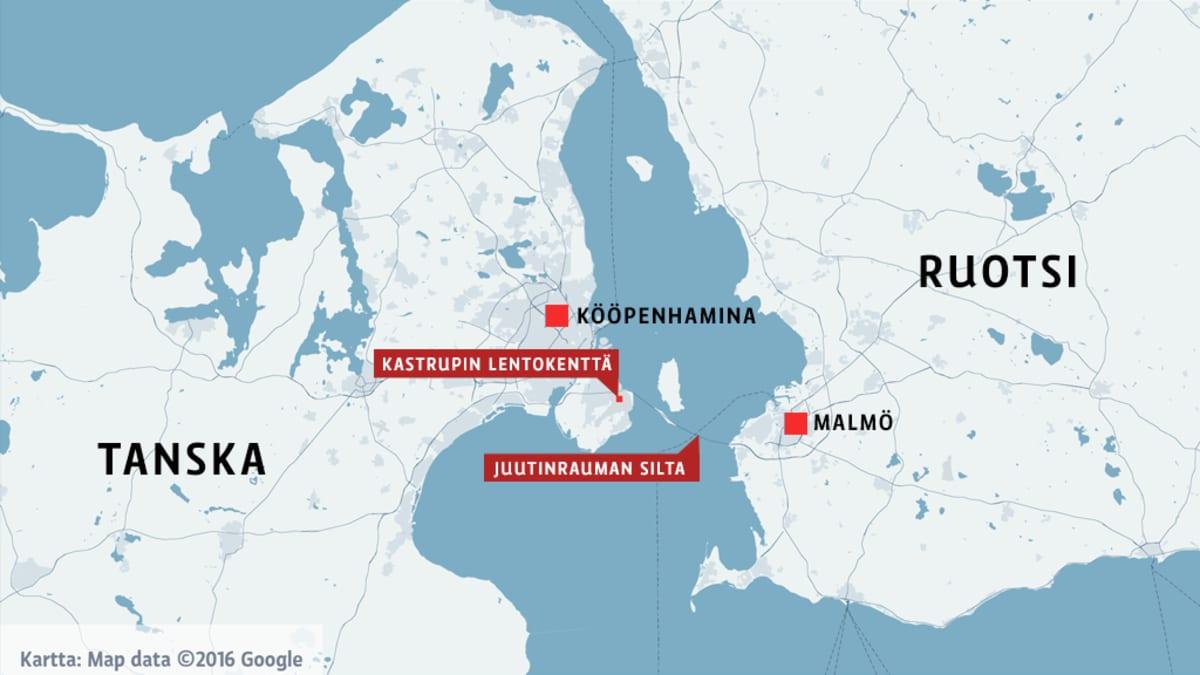 Kartta, jossa näkyvät Kastrupin lentokentän ja Juutinrauman sillan sijainnit.