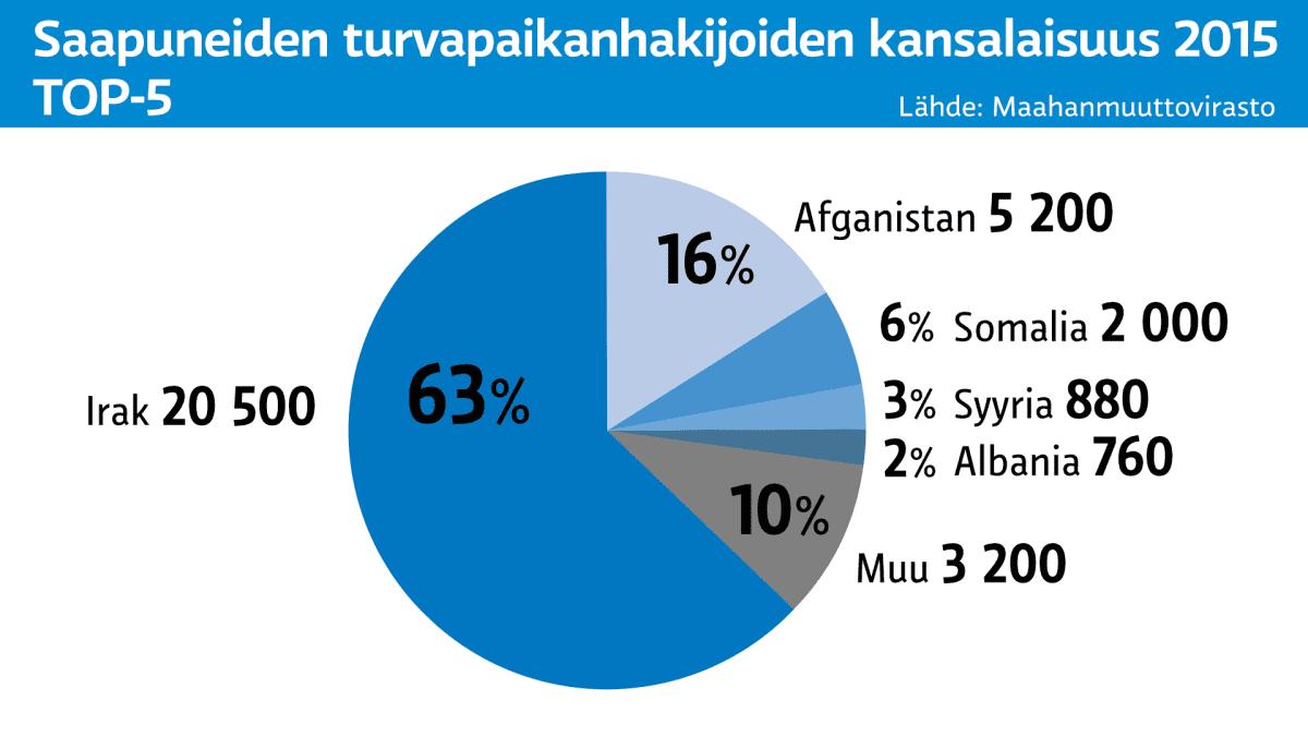 Grafiikka turvapaikanhakijoiden kansallisuuksista.