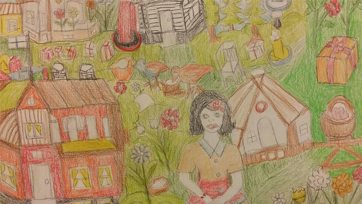 Kuvassa yksi Liisan värikkäistä piirustuksista. Etualalla naishahmo ympärilla talo ja jakukkia.