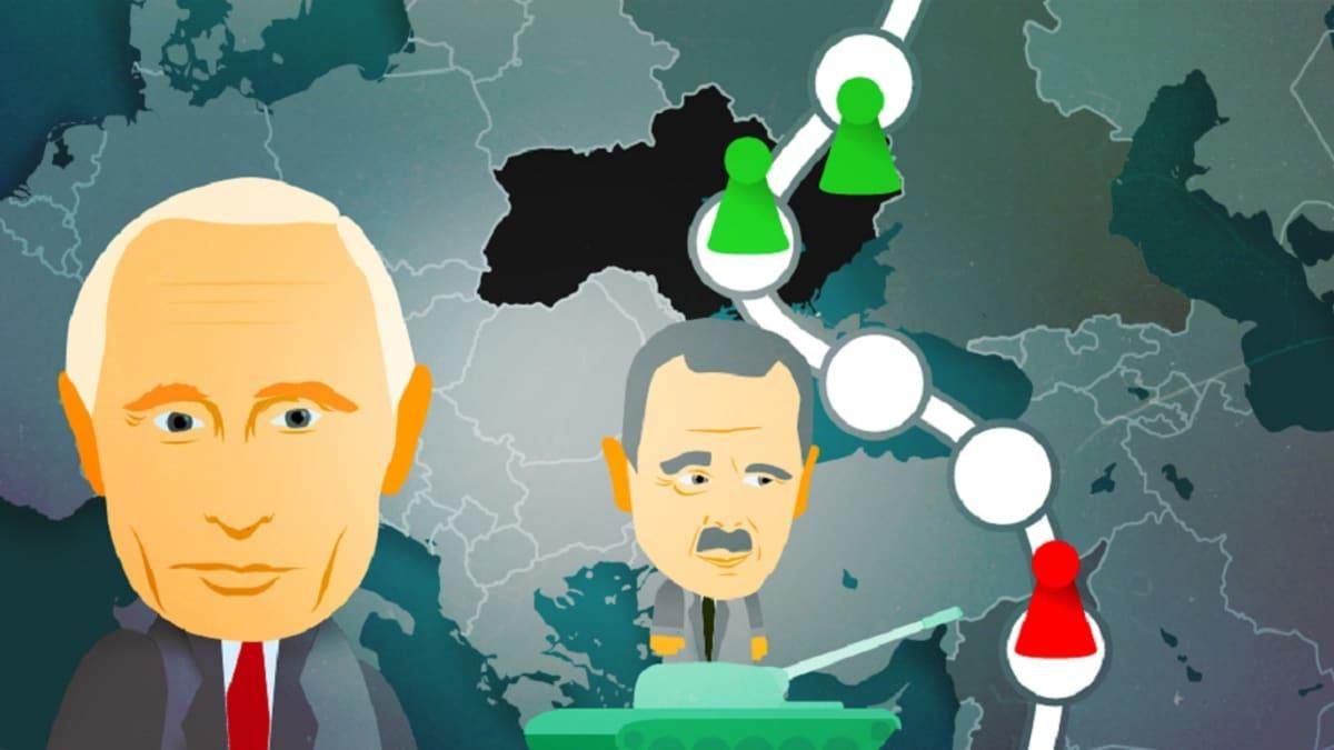 Putinin ja Assadin kuva pelilaudalla