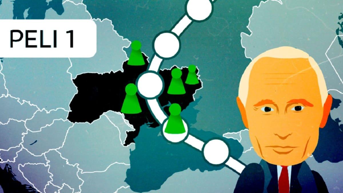 Putinin kuva pelilaudalla, jossa Ukrainan kartta.