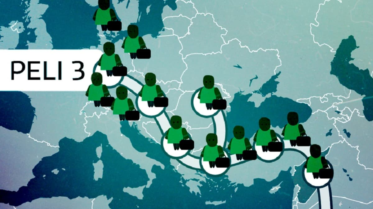 Pelilauta jossa ihmisiä kulkee turvapaikanhakijareittiä Euroopan halki.
