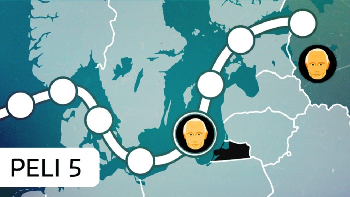Pelilauta, jossa reitti kulkee Itämeren halki.