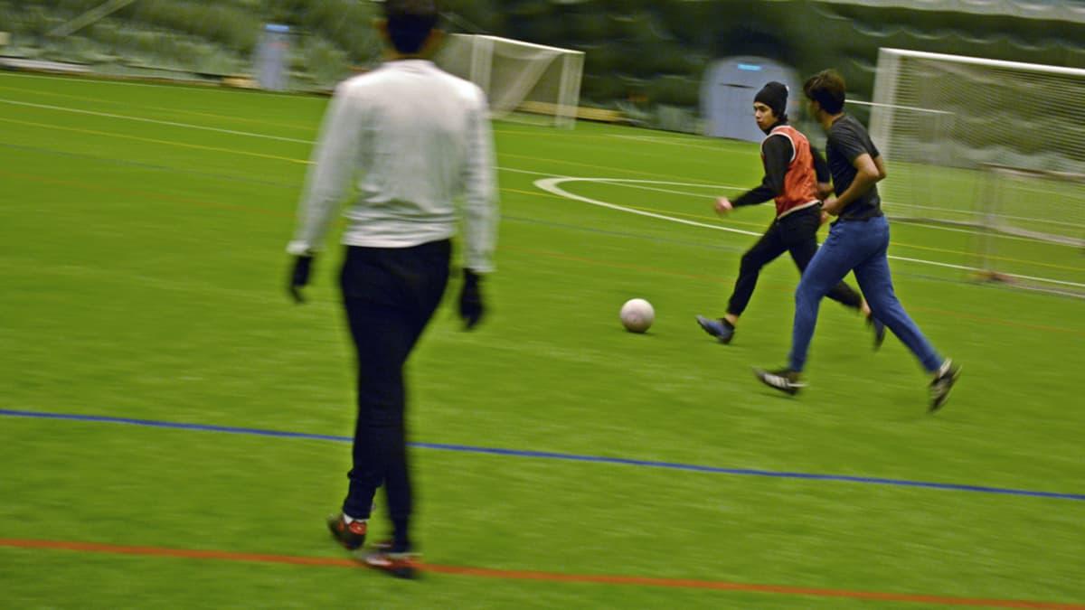 Jalkapalloa pelataan pallohallissa tekonurmella