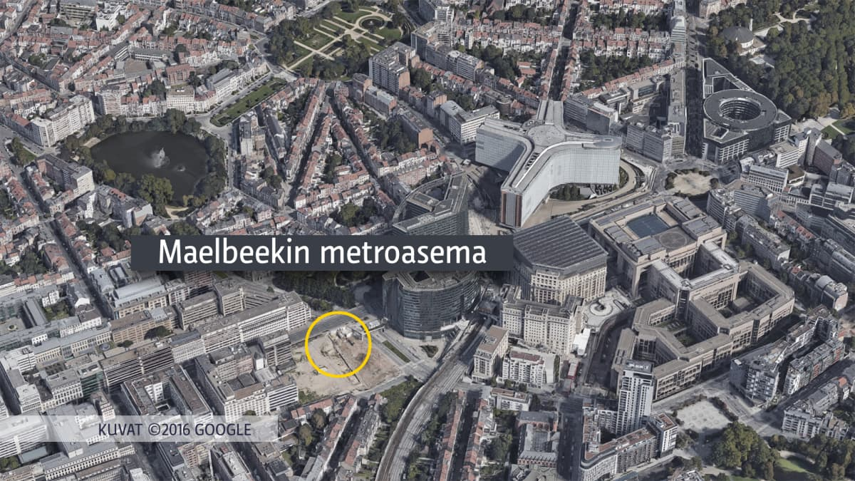 Ilmakuvakartta Maelbeekin metroaseman sijainnista.
