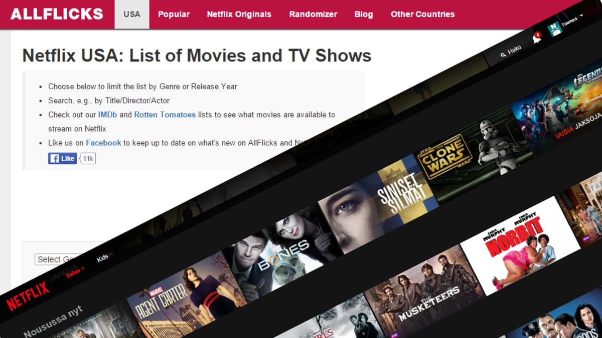 Kuvakaappaukset Allflicks- ja Netflix-sivustojen etusivuilta.