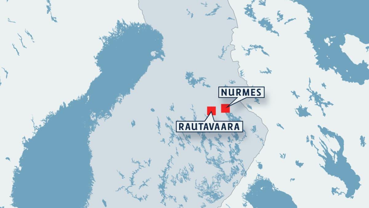 Suomen kartta jossa Nurmes ja Rautavaara