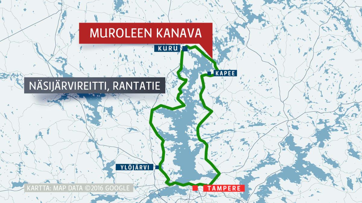 Karttakuva Näsijärven ympäri kulkevasta pyöräilyreitistä