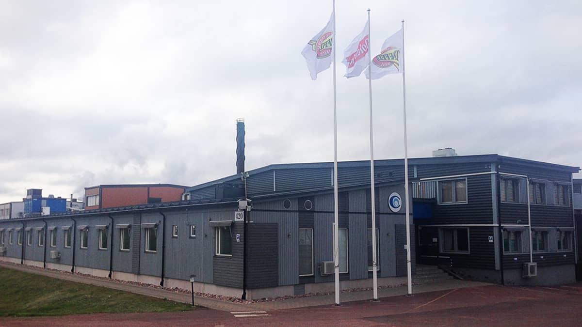Orklan perunalastutehdas Ahvenanmaan Godbyssa.