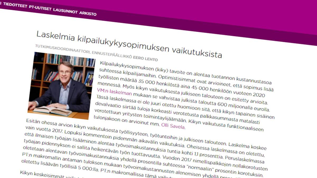 Kuvakaappaus Palkansaajien tutkimuslaitoksen sivuilta.