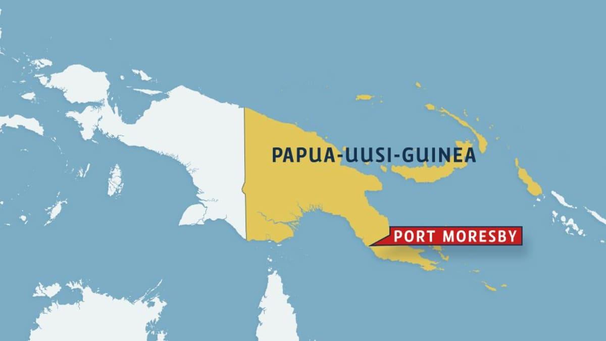 Papua Uusi-Guinea kartalla, johon on merkitty Port Moresby.