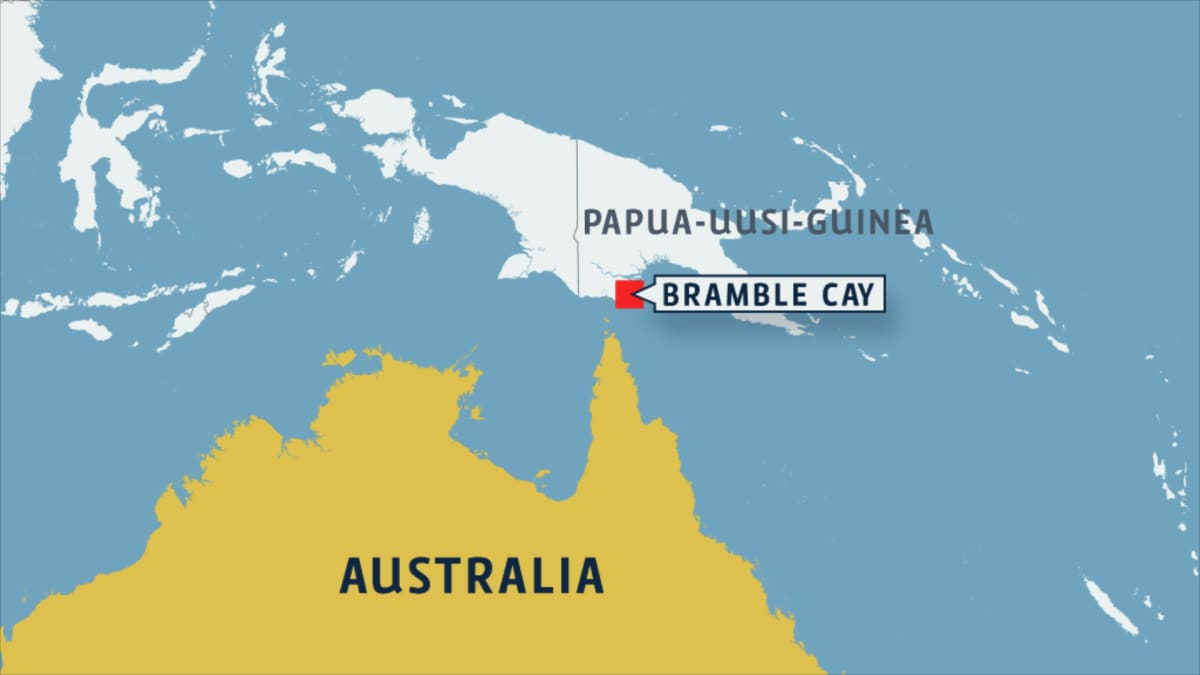 Australian kartta jossa Bramble Cay