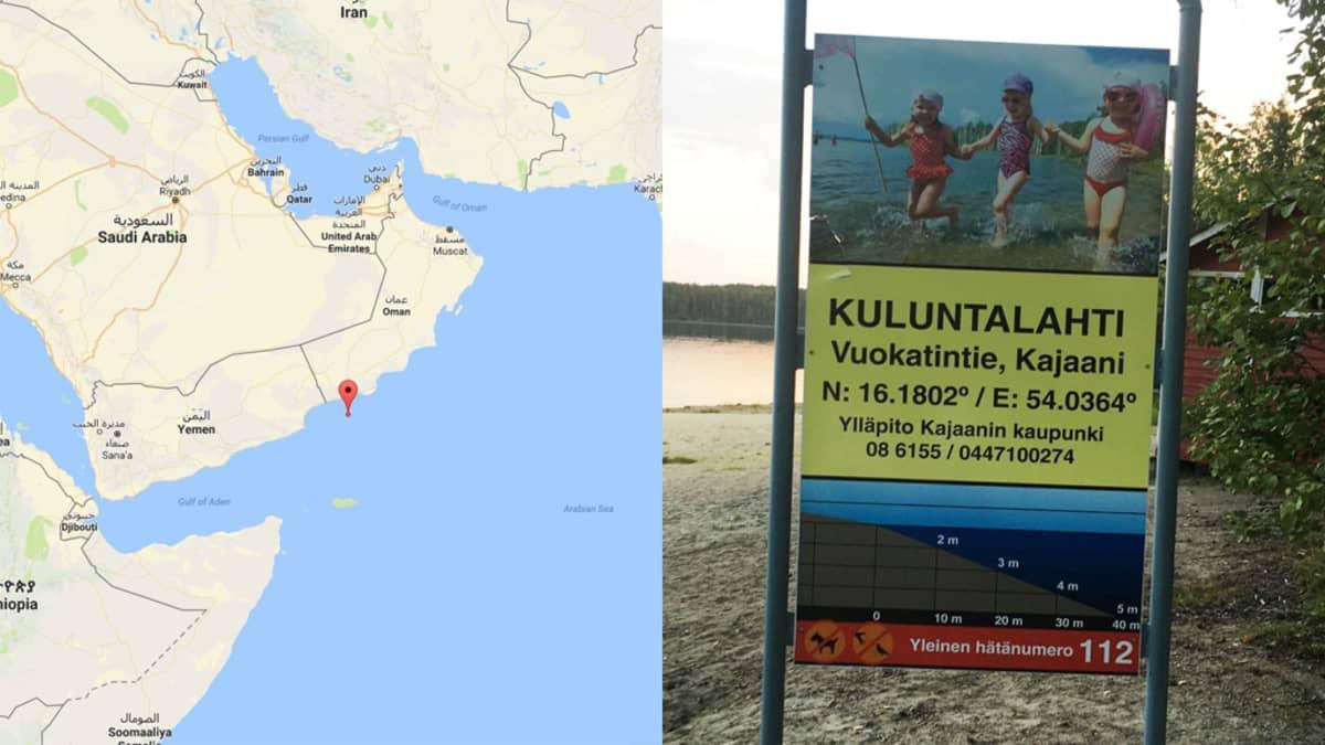 Kartta ja Kuluntalahden kyltti.