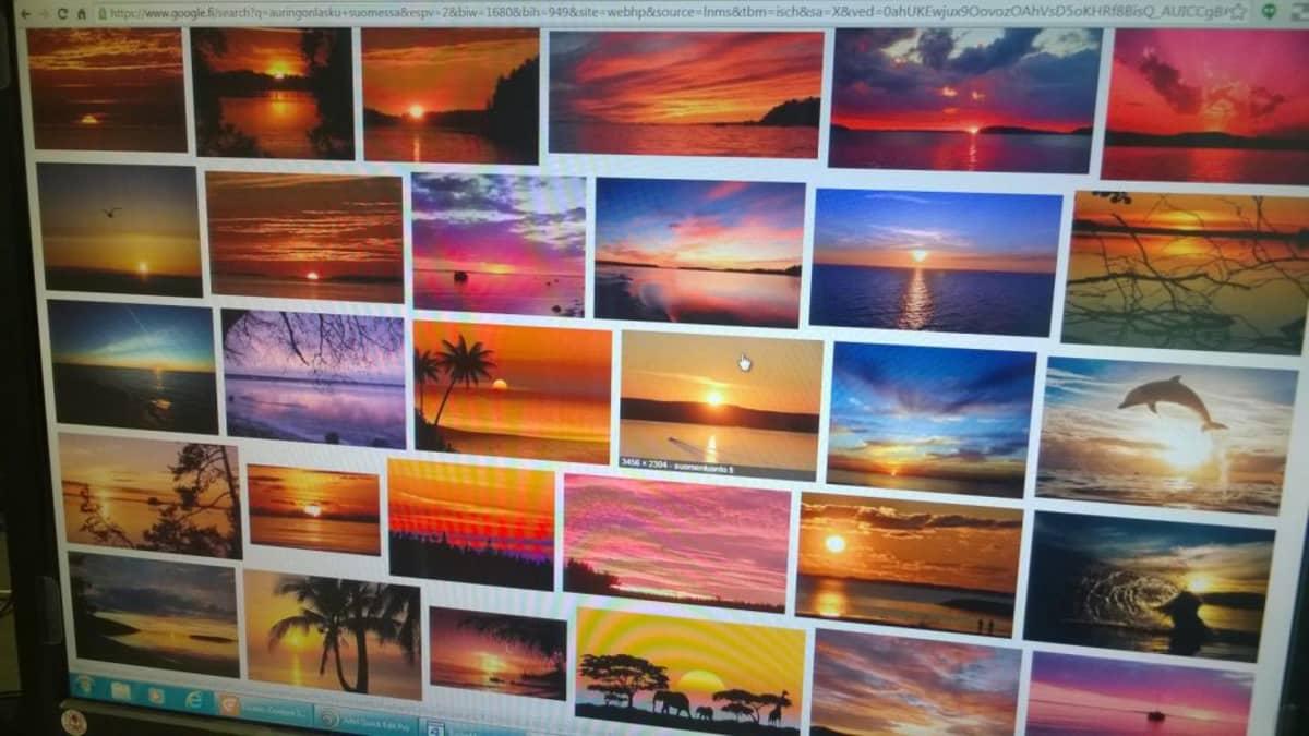 Kuvia ruudulla auringonlaskuista.