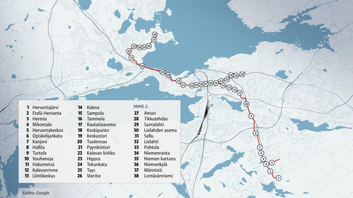 Tampereen raitiotien linja- ja pysäkkikartta