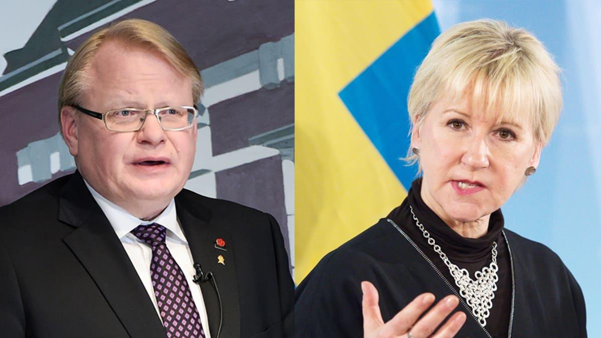 Ruotsin puolustusministeri Peter Hultqvist ja ulkoministeri Margot Wallström