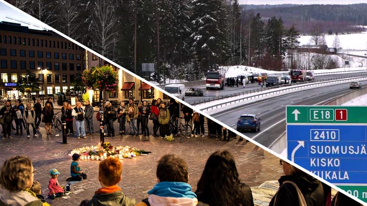Muistotilaisuus Helsingin Asema-aukiolla. Arvokuljetusauton ryöstöyritys Suomusjärvellä.
