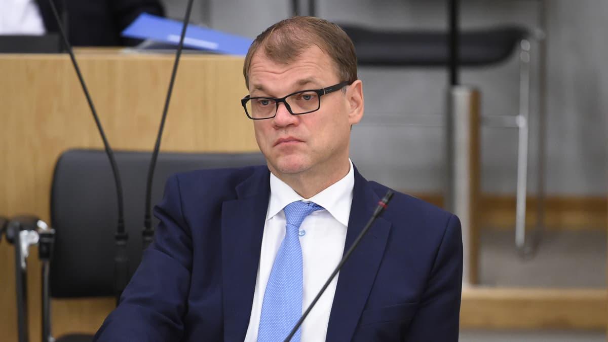 Pääministeri Juha Sipilä eduskunnassa.