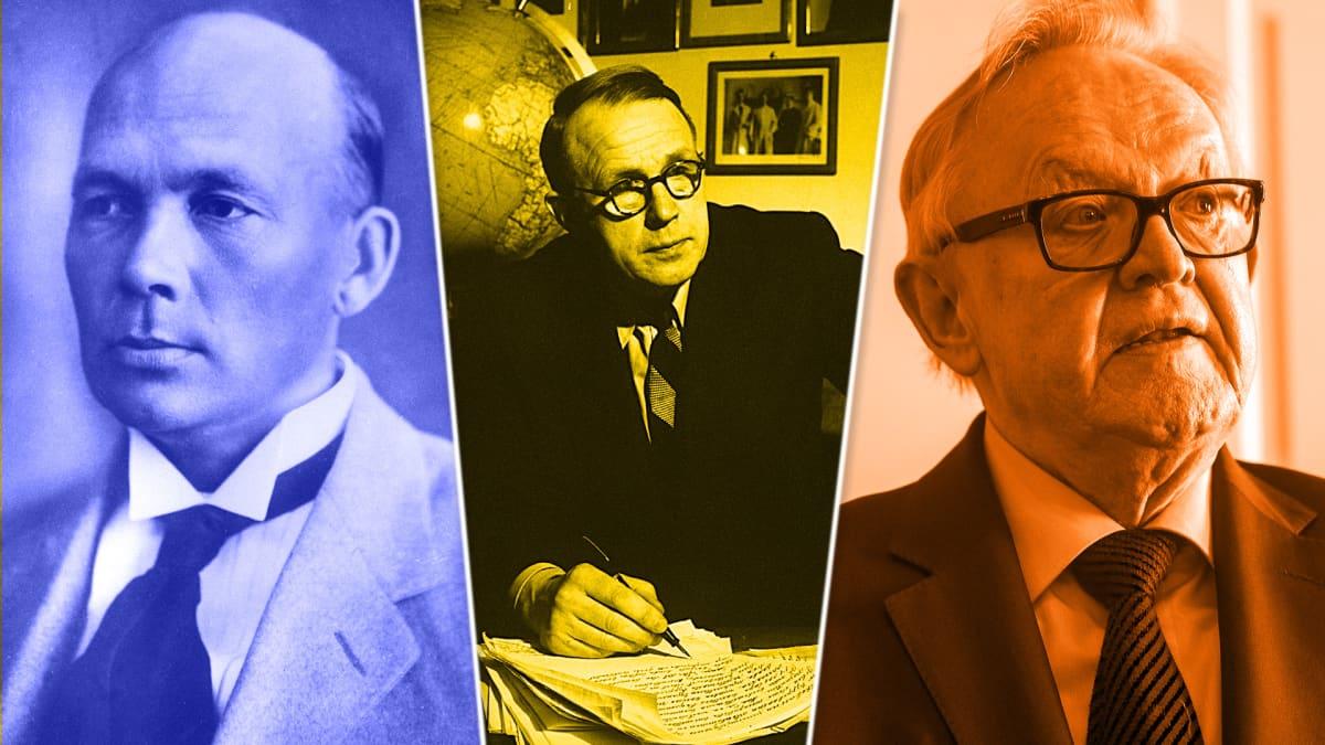 F.E. Sillanpää, A.I. Virtanen ja Martti Ahtisaari
