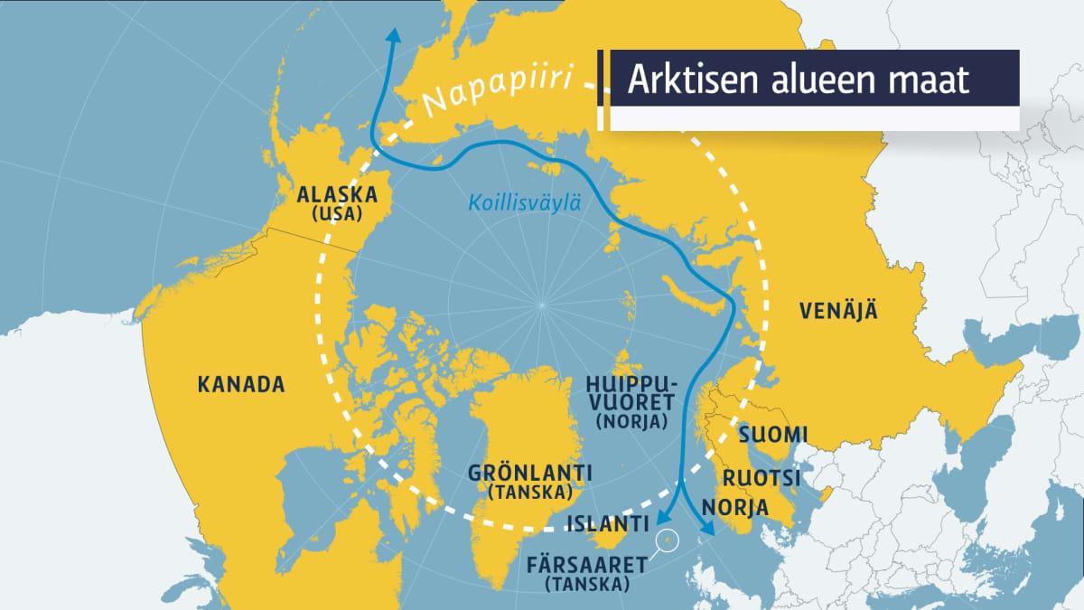 Arktisen alueen maat.