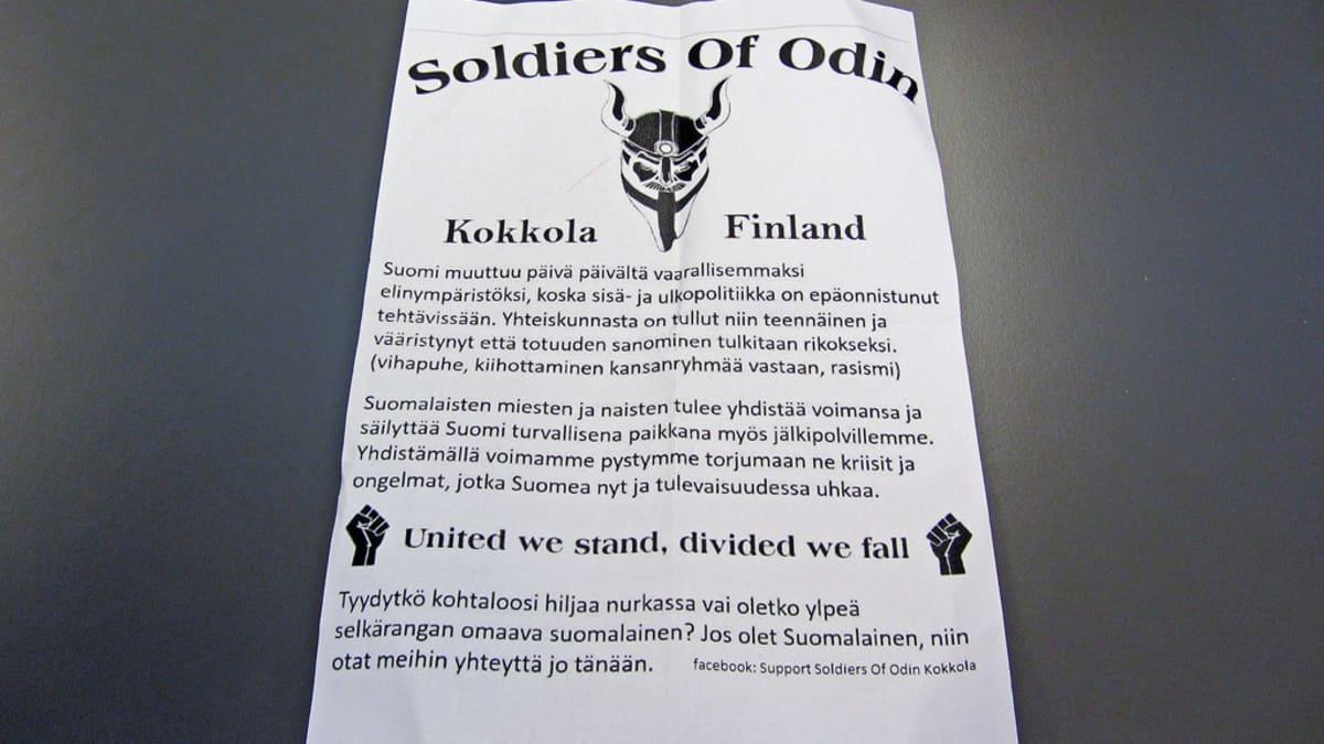 Kuvassa Soldoers of Odinin markkinointikirje