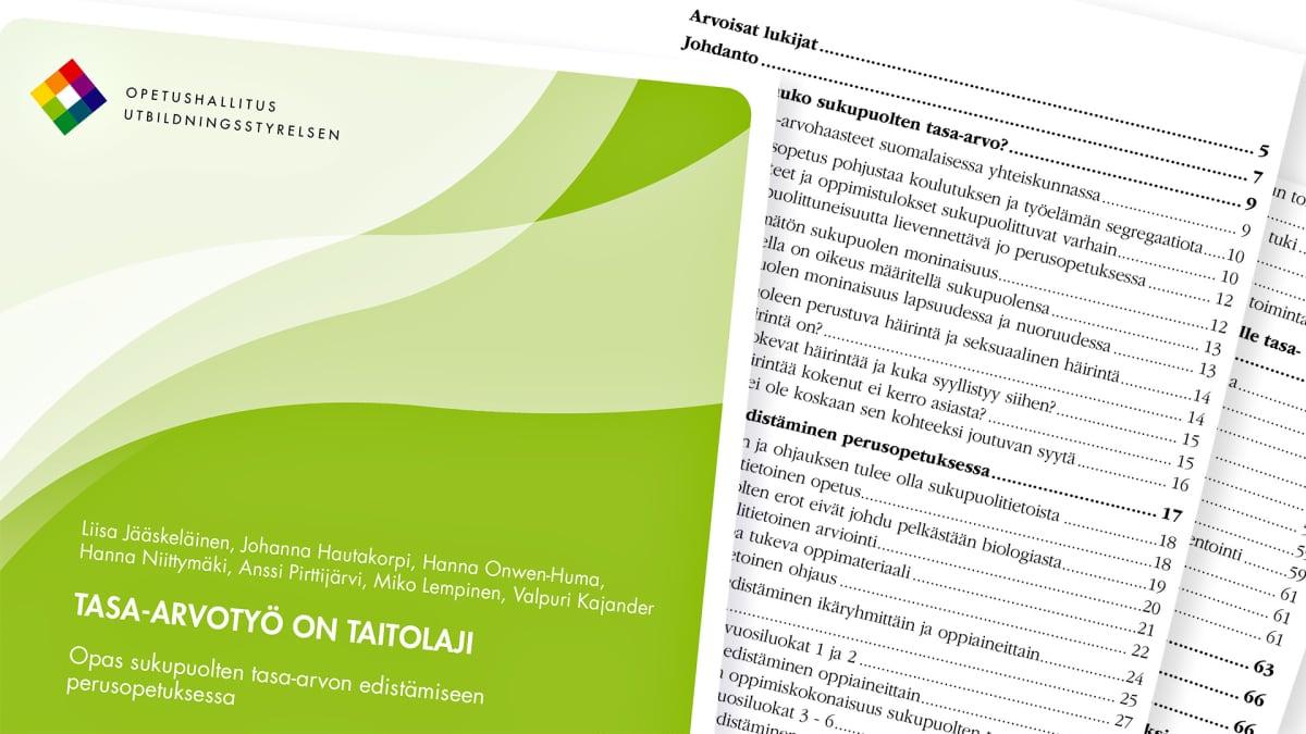 Opetushallituksen Opas sukupuolten tasa-arvon edistämiseen perusopetuksessa.