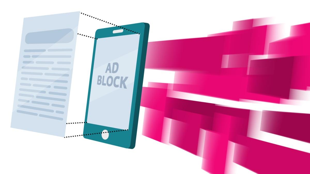 Grafiikka matkapuhelimesta ja mainosesto-ohjelmasta