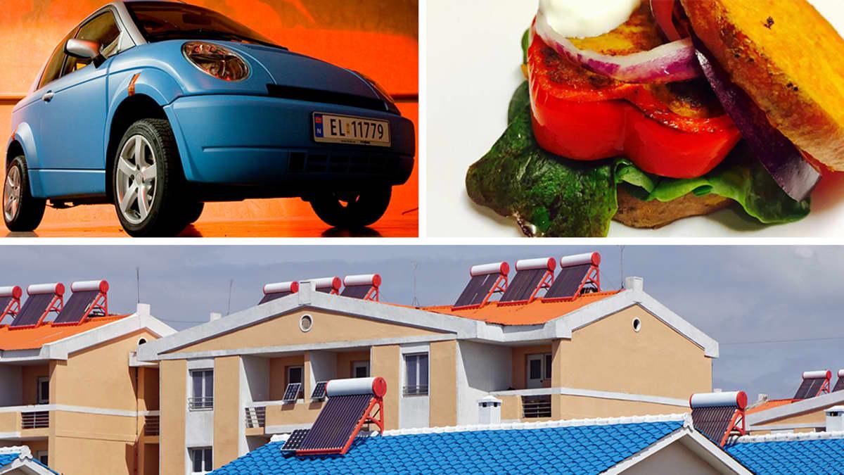 Kollaasikuva autosta, ruoka-annoksesta ja talosta.