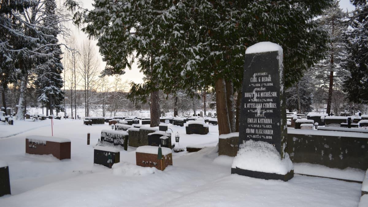 Kajaanin hautausmaa talvella.