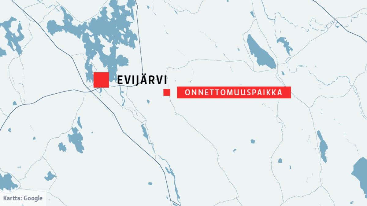 Onnettomuuspaikka Evijärvellä.
