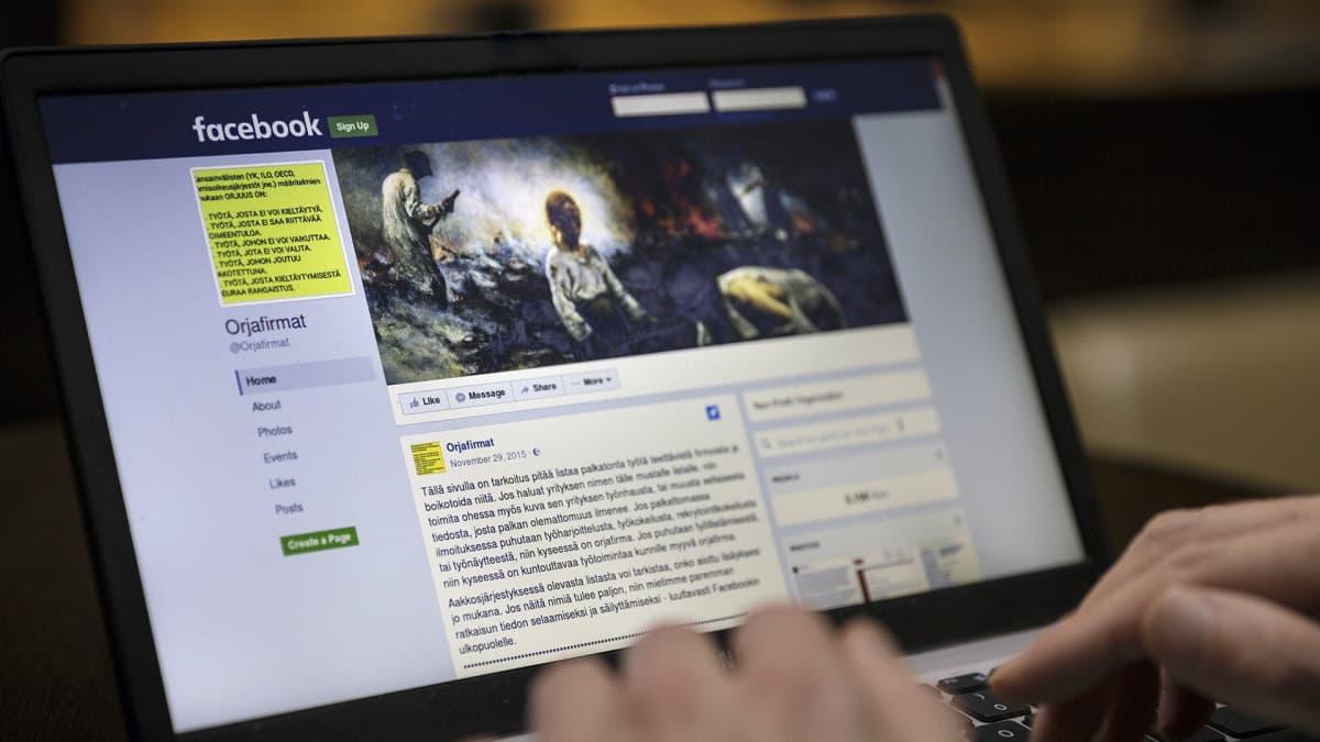 Orjafirmat -sivusto Facebookissa.