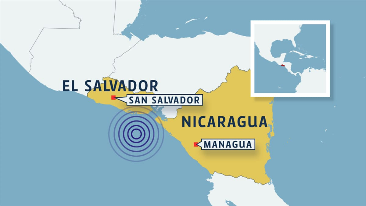 Kartta jossa El Salvador ja Nicaragua