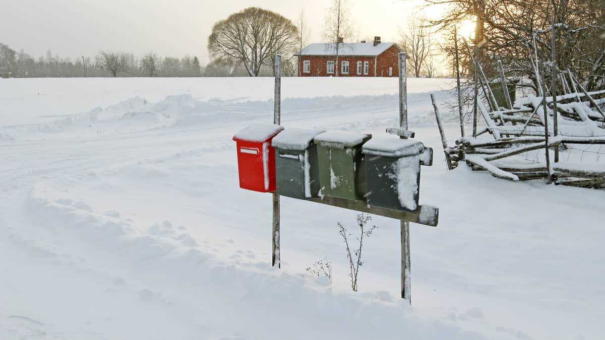 Postilaatikoita maaseudulla.