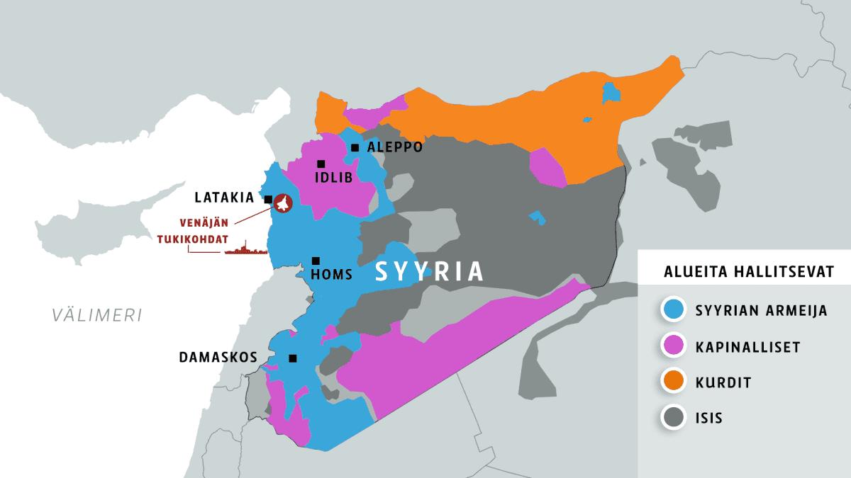 Eri ryhmien hallitsemat alueet Syyriassa