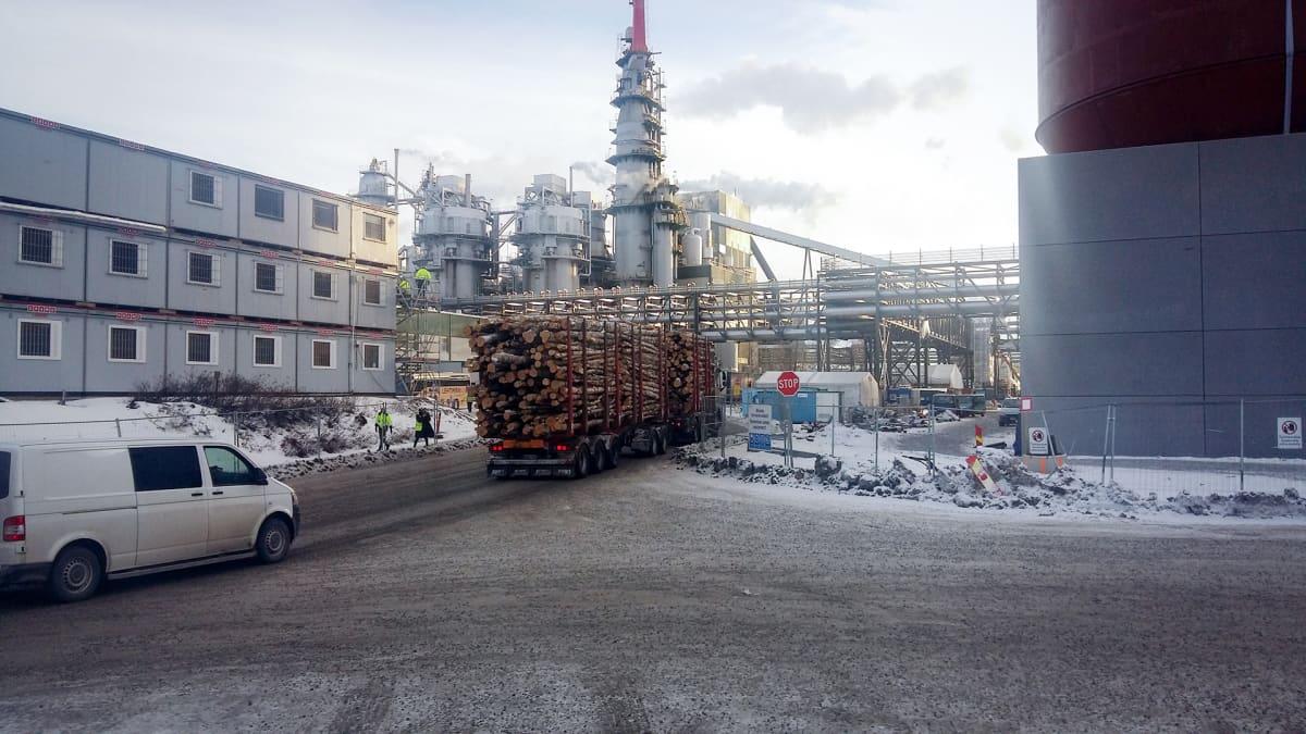 Puukuormaa tuodaan Metsä Groupin Äänekosken tehtaalle.