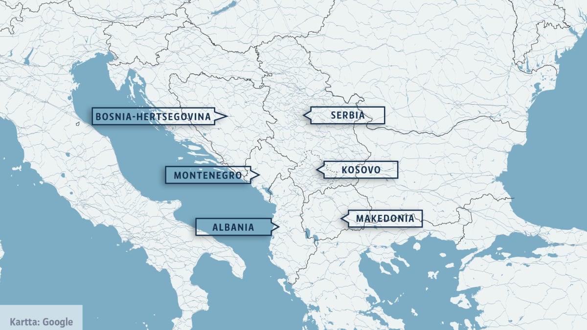 Länsi-Balkanin maat.