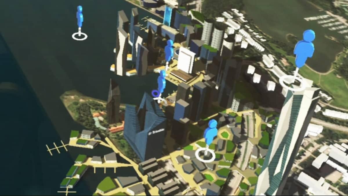 Virtuaalilasien näkymä kaupungista