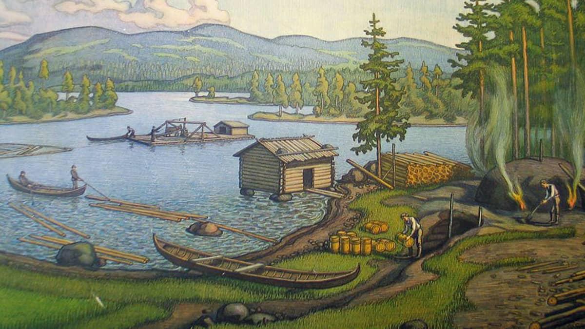 Tervanpolttoa esittelevä kuvataulu 1900-luvun alusta.
