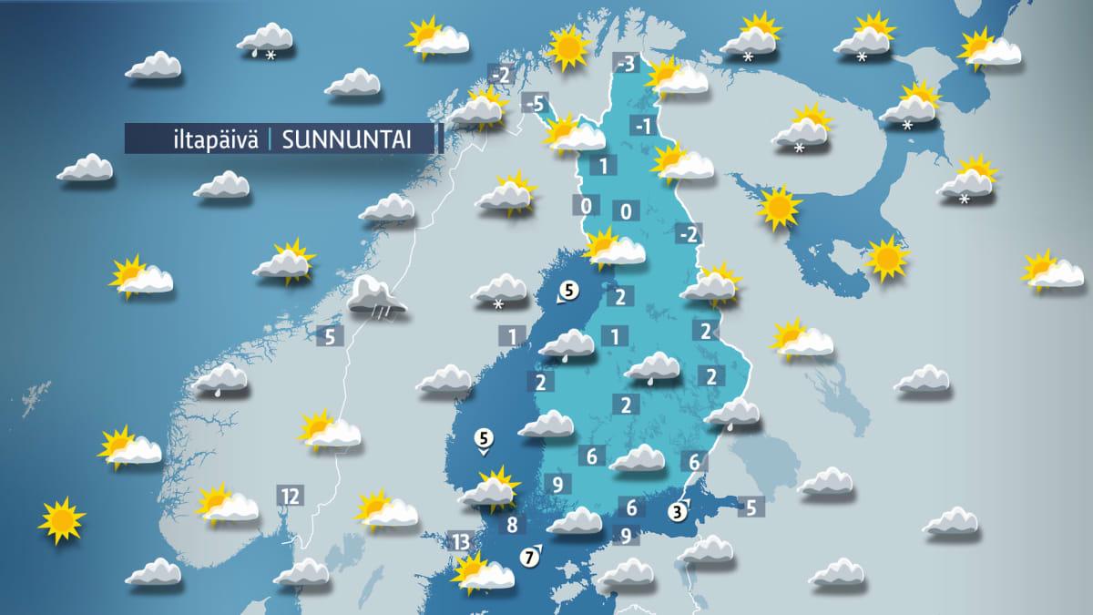 Päivän sääkartta sunnuntaille 2. huhtikuuta.