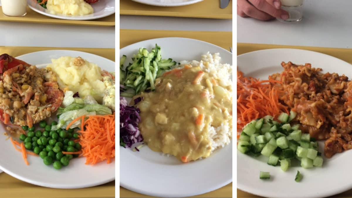 Kolme erilaista kouluruoka-annosta rinnakkain.