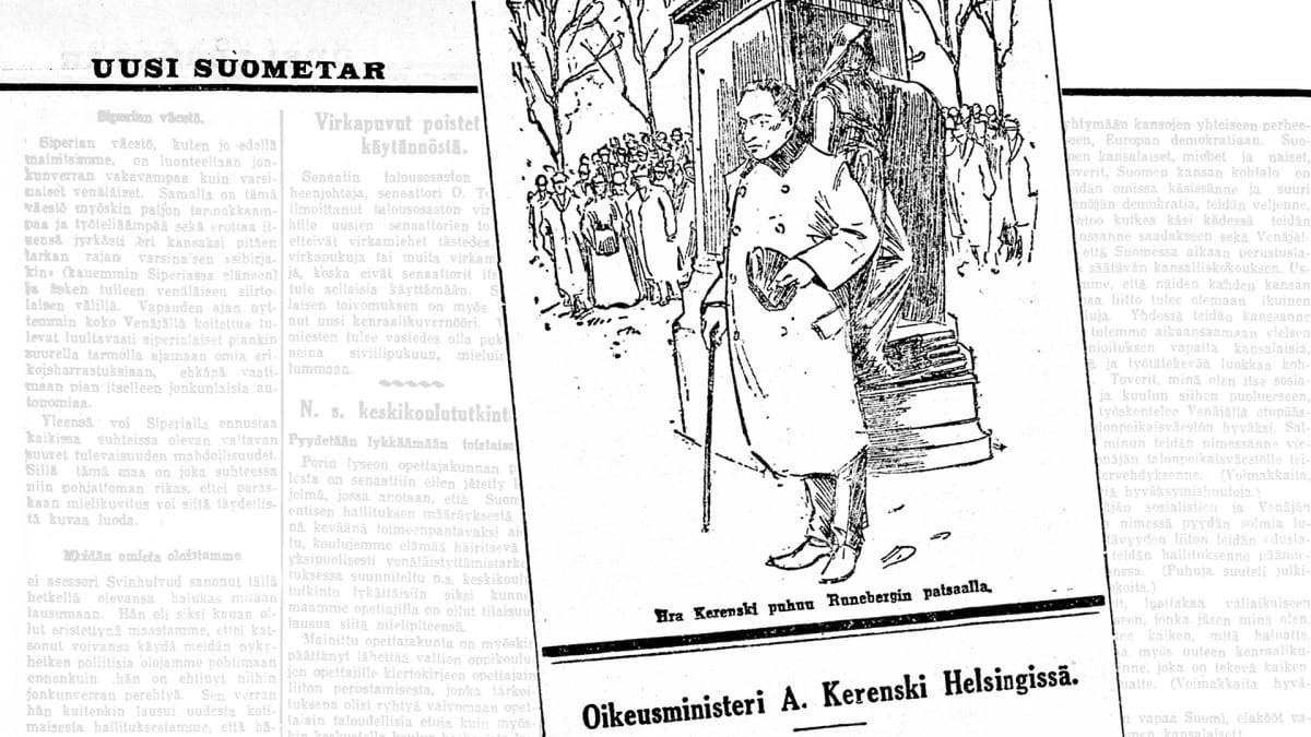 Kuvakaappaus piirroksesta Uusi Suometar -lehdessä.