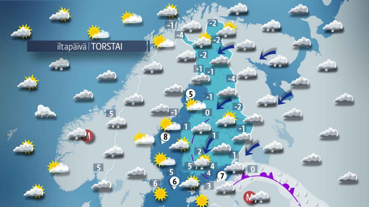 Sääkartta torstaille 13. huhtikuuta.