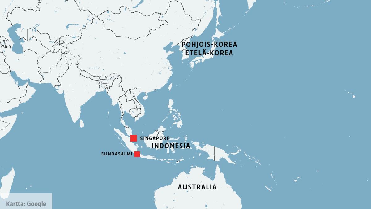 Kartta, johon on merkitty Indonesia, Singapore, Australia, sekä Pohjois- ja Etelä-Korea.