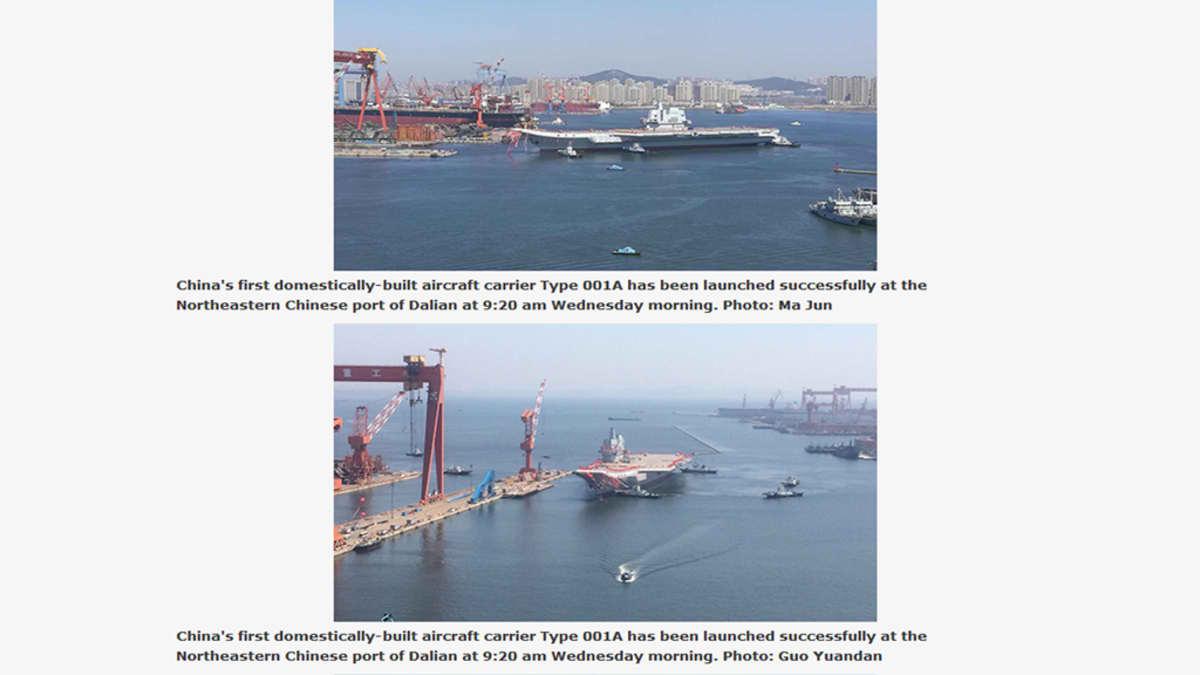 Kuvakaappaus globaltimes.cn -nettisivuilta uudesta lentotukialuksesta.